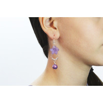 Arete Moda Largos Plateados Flor Y Esfera Purpura Ar257