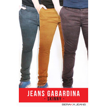 Jeans Caballero Corte Slim Gabardina Colores - Envíogratis