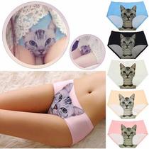 8 Calzones Mujer Gato Panties Moda Asiática Mayoreo