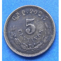 Moneda 5 Centavos Culiacan 1900 Plata Excelente