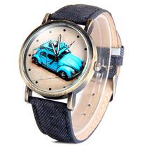 Reloj Dama Mujer Vintage Vocho Textil Análogo Negro