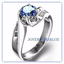 Anillos Comprmiso 14kt .79ct Diamantes Y Zafiro 6mm