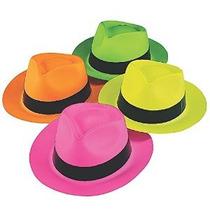 De Neón De Color De Plástico Gangster Sombreros (12 Pack)