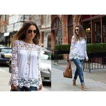 Blusa Crochet Encaje Moda Importada Asia