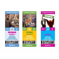 Invitaciones Zootopia Ticket Editables Incluye Fuente