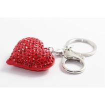 Llavero Fino Plateado Corazón Cristales Rojos Llf08