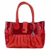 Bolsa De Mano 100% Piel Charol Roja Diseño Exclusivo