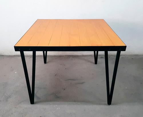 Mesa de comedor en madera y metal tipo industrial 3950 for Mesas de comedor tipo industrial