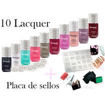 10 Lacquer Esmaltes A Eleccion + Placa De Sellos Profesional