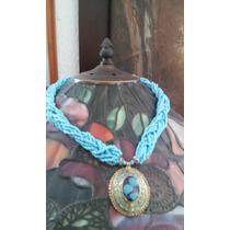 Collar Chaquiras Azul Turqueza Dije Metal