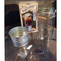 Dispensador De Agua Original Mason Jar Vidrio Con Base