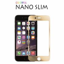 Kit Iphone 6 Plus Mica Cristal Delantera Trasera Bumper Gold