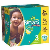 Pampers Baby Dry Pañales Tamaño 3 Economía Paquete Plus 222