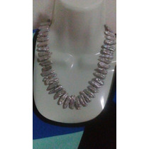 Collar De Perlas Cultivadas Estilo Barroco Color Plata