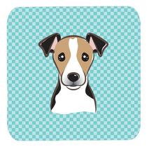 Conjunto De 4 Tablero De Damas Azul Jack Russell Terrier Esp