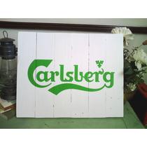 Cuadro Letrero Anuncio Vintage Carlsberg Cerveza Madera Bar