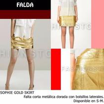 *fashionstore* Sophie Gold Skirt. Falda Dorada Vinipiel