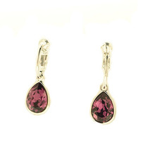 Swarovski Elements Arracadas Gota Amethyst Gma