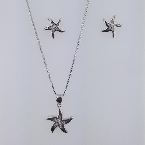 77d2c526abc3 Juego Dije Collar Y Aretes De Plata 0.925 Estrella De Mar  7 en ...