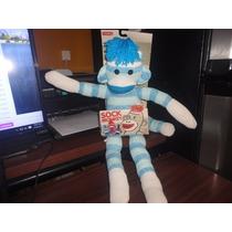 Peluche Sock Monkey Color Azul