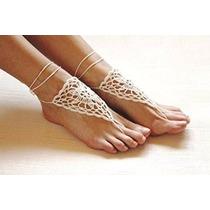Crochet Marfil Descalzo Sandalias / Zapatos Nude / Joyería D
