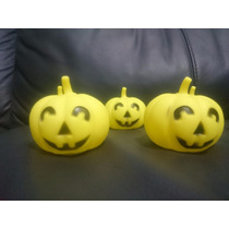 10 Calabaza Halloween Luz Luminosa Colores Adorno Decora