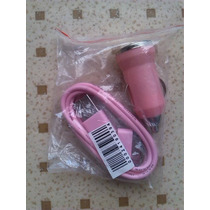 Cargador Usb Auto Y Cable De Datos Iphone 3g, 4gs Ipad Rosa