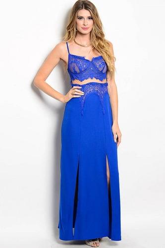 Vestido Fiesta Azul Rey Largo Elegante De Tirantes En Venta