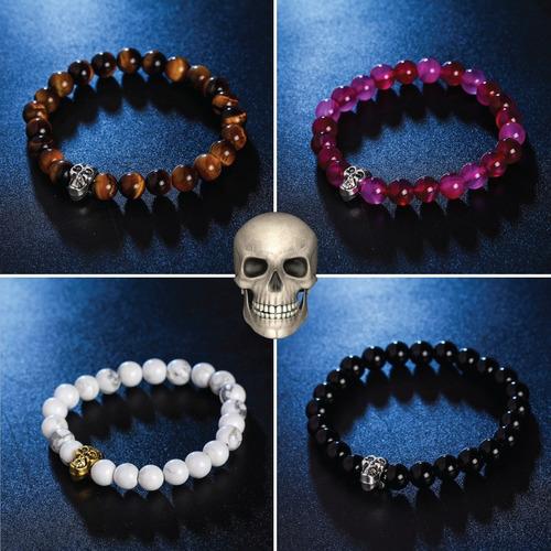 4ebfed21bb0b Pulseras Skull Calavera Piedras Naturales + Precio Mayoreo en venta ...