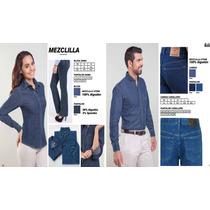 Camisa Blusa Mezclilla M/c Dacache,serigrafia,bordadora 12