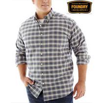 Envio Camisa 4xl Foundry Gris Cuadros Manga Larga Xxxxl