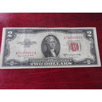 Billete Two 2 Dollar Sello Rojo 1953 Red Seal Vf Hermoso