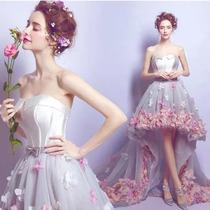 Vestido De Fiesta Xv Años Dama Con Flores 3d Importado En