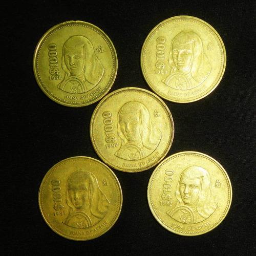 Monedas 1000 Pesos 1988 A 1992 Sor Juana Serie Completa