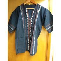 Camisa Tradicional Chiapaneca, Azul , Talla G, Nueva