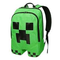Mochila Minecraft Creeper, Con Soporte Lumbar, Exclusiva!