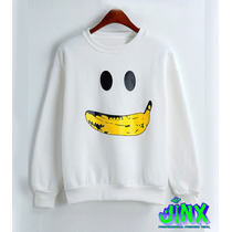 Sudadera Blanca Andy Warhol Banana Arte Pop