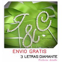 3 Iniciales Letras Diamante Decoracion Pastel Envio Gratis