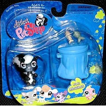 Littlest Pet Skunk Pet Shop Port?til Con Cubo De La Basura