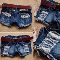 Shorts Corto Mezclilla Rotos Casual Moda Japonesa Ropa Mujer