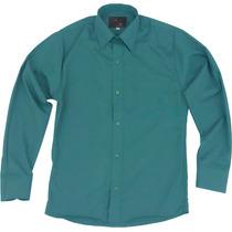 Camisa Vestir Infantil Juvenil Salidas Escolares Verde Jade
