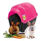 Casa Cama Conejo Plast Pet Stone House No1 Rosa Envío Gratis
