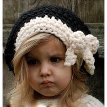 Gorro Niña Estambre, Crochet Moño B/n Importados Usa Colores