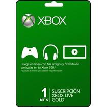 Tarjeta Gift Card Xbox Live Membresia 1 Mes Xbox 360 Y One