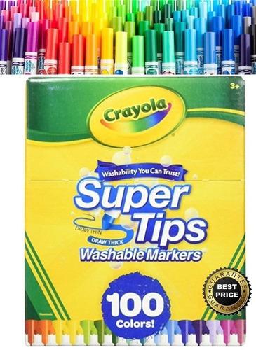Super Tips 100 Piezas Crayola, Marcadores Plumones Lavables