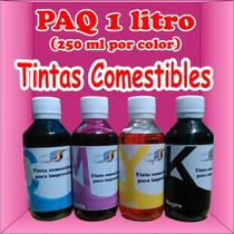 Tintas Comestibles Paq 1 Litro 250ml Por Color Cmyk