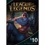 Lol League Of Legends Gift Card Tarjeta 10 Usd (us Only)