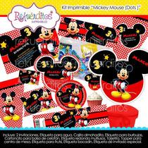 Kit Imprimible Mickey Mouse Dots Cumpleaños Invitaciones #3