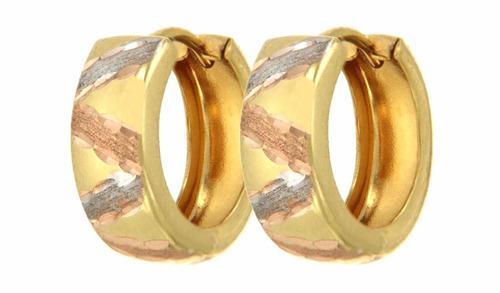 9f1e2b7f885c Arracadas Huggies Con Líneas Diamantadas Oro Florentino 14k en venta ...