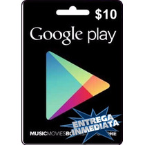 Tarjeta Gift Card Google Play $10 Usd Juegos Apps Android